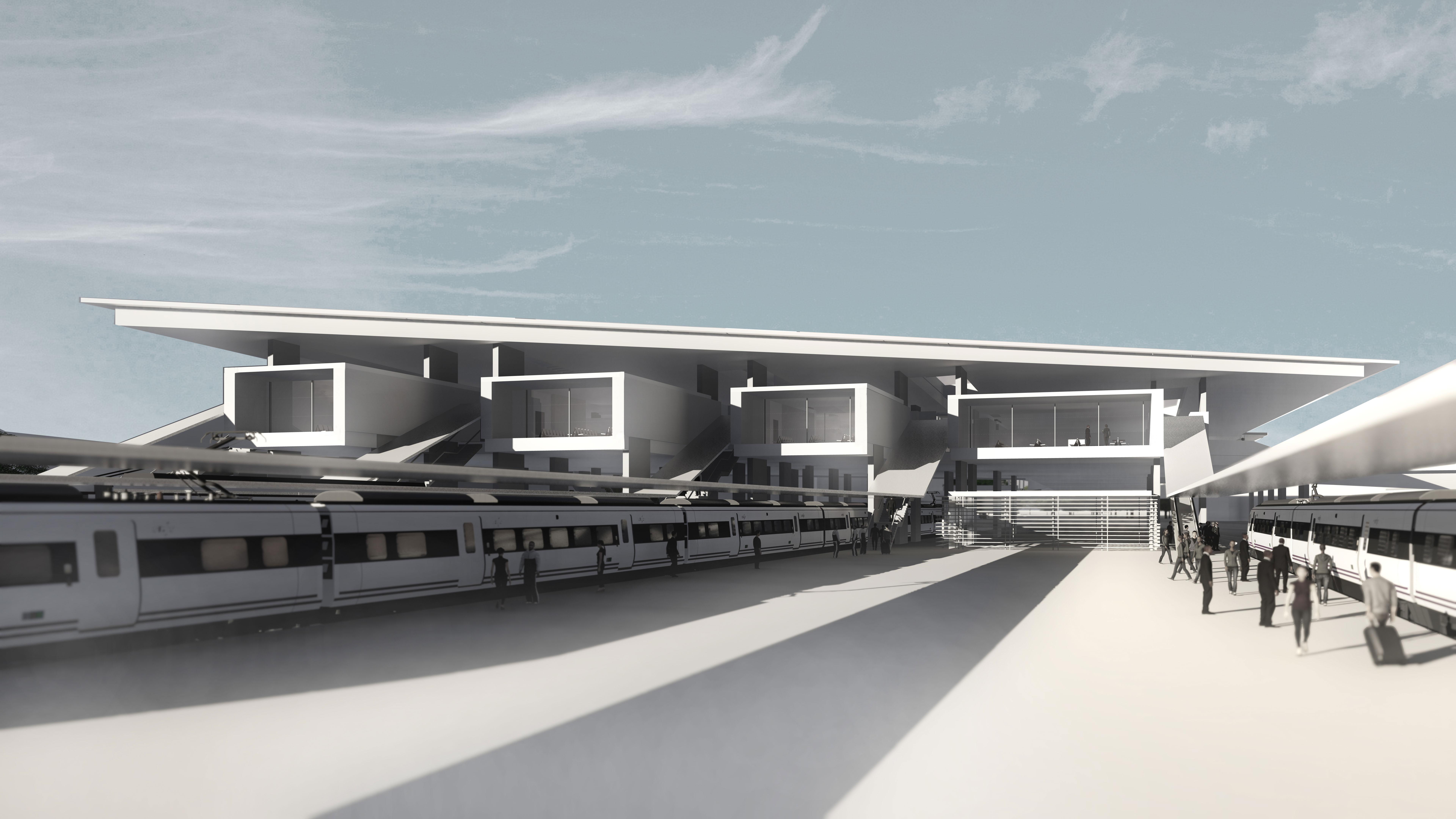 Perspectiva del proyecto de la estación.