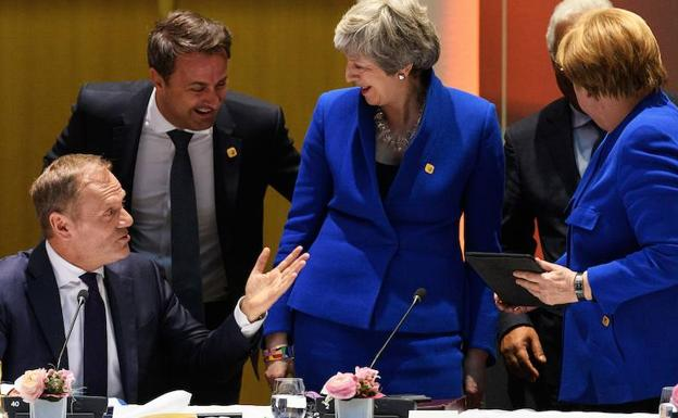 Donald Tusk, Xavier Bettel, Theresa May, Antonio Costa y Angela Merkel./EP