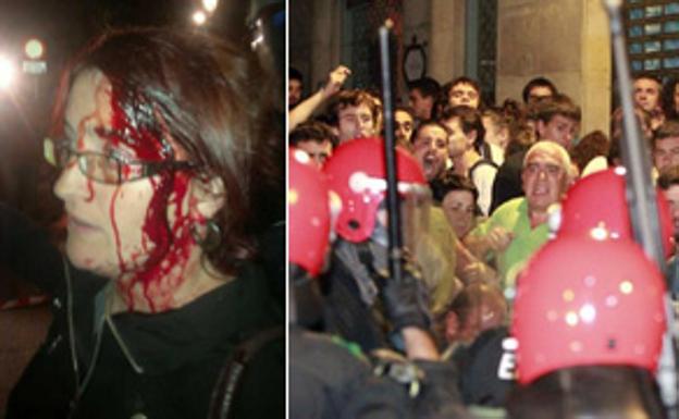 Imagen de la exsenaddora herida y de los incidentes ocurridos en Hernani en 2013./