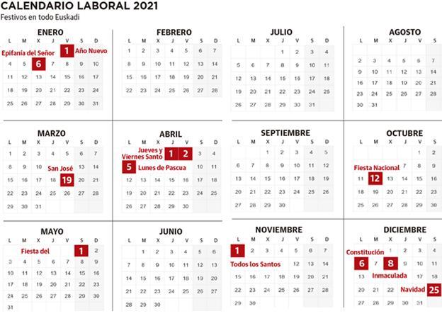 Calendario laboral de Euskadi 2021 con festivos | El Diario Vasco
