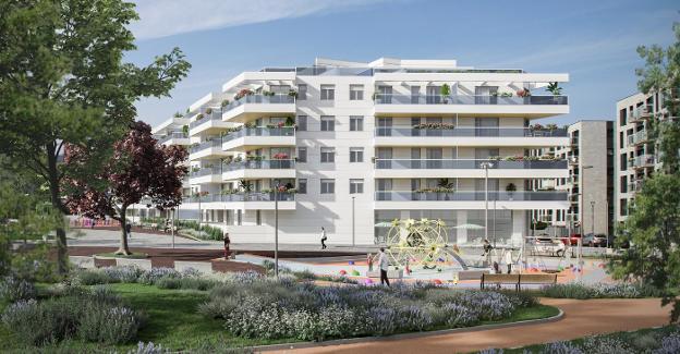Infografía de los edificios de viviendas que conformarán la nueva urbanización del ámbito Porcelanas Bidasoa./