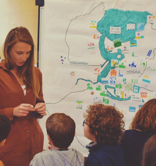 Sesión de trabajo realizada para la 'Cartografía emocional del Bidasoa', ganadora de una de las becas Ribera de la pasada edición. / BITAMINE