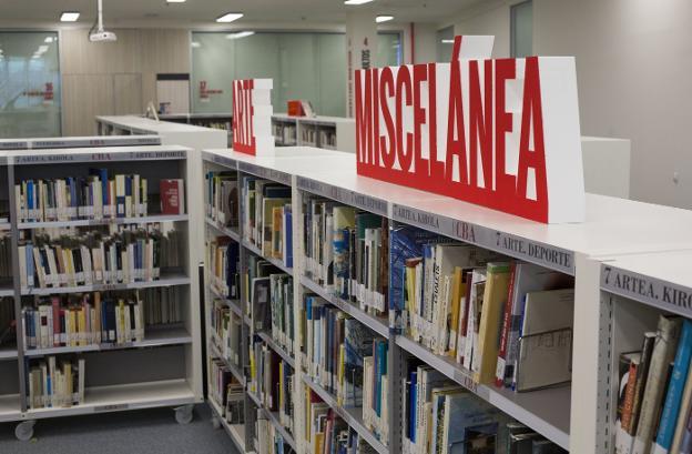 Estanterías de la biblioteca Carlos Blanco Aguinaga, que ha prestado a lo largo del año 2020 más de 25.000 documentos. / F. DE LA HERA